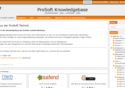 ProSoft Knowledge Base v2 - Startseite