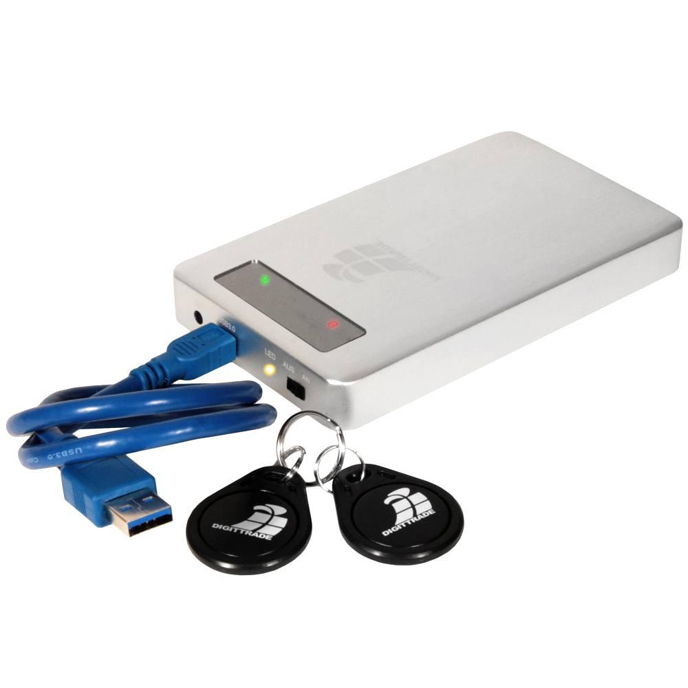Hardwareverschlüsselte Festplatte Digittrade RS256 mit RFID-Zugriffsschutz
