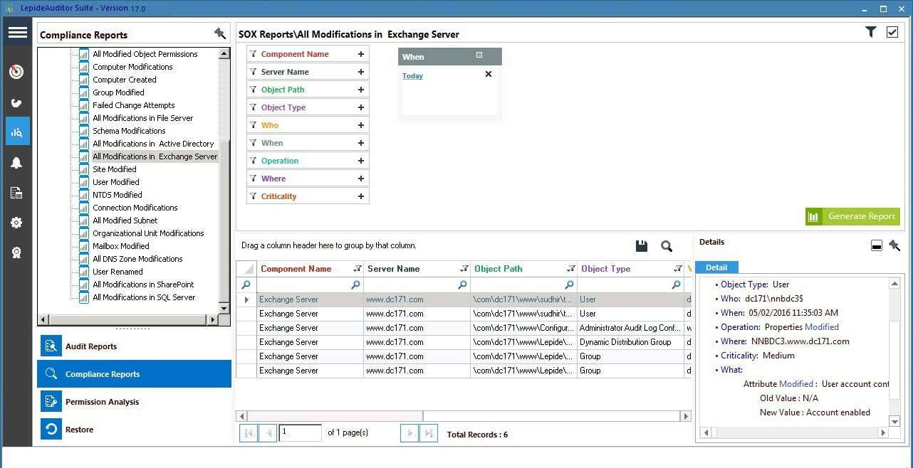 Change-Auditing Lepide Auditor Compliance Auswertung Screenshot