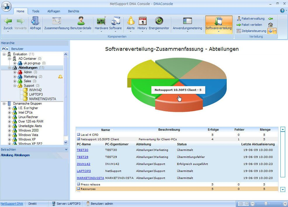 IT-Asset-Management mit Softwareverteilung in NetSupport DNA