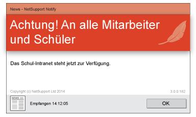 NetSupport Notify Desktop Alerting einfache Nachricht