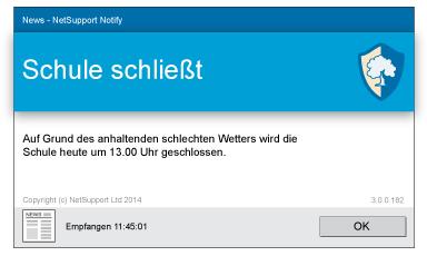 NetSupport Notify Desktop Alerting freudige Nachricht
