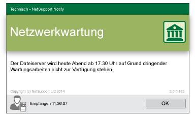 NetSupport Notify Desktop Alerting Netzwerkwartung