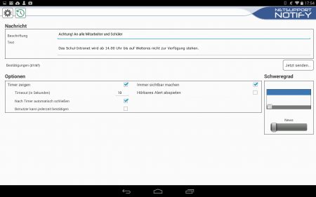 NetSupport Notify Benachrichtigungseinstellungen