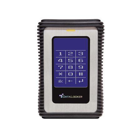 Frontansicht DataLocker DL3 mit patentiertem Touchpad und Silikon-Schutzhülle.